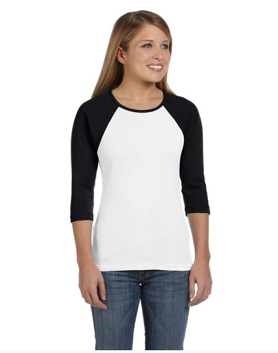 Bella B2000 Ladies' Baby Rib 3/4-Sleeve Contrast Raglan T-Shirt